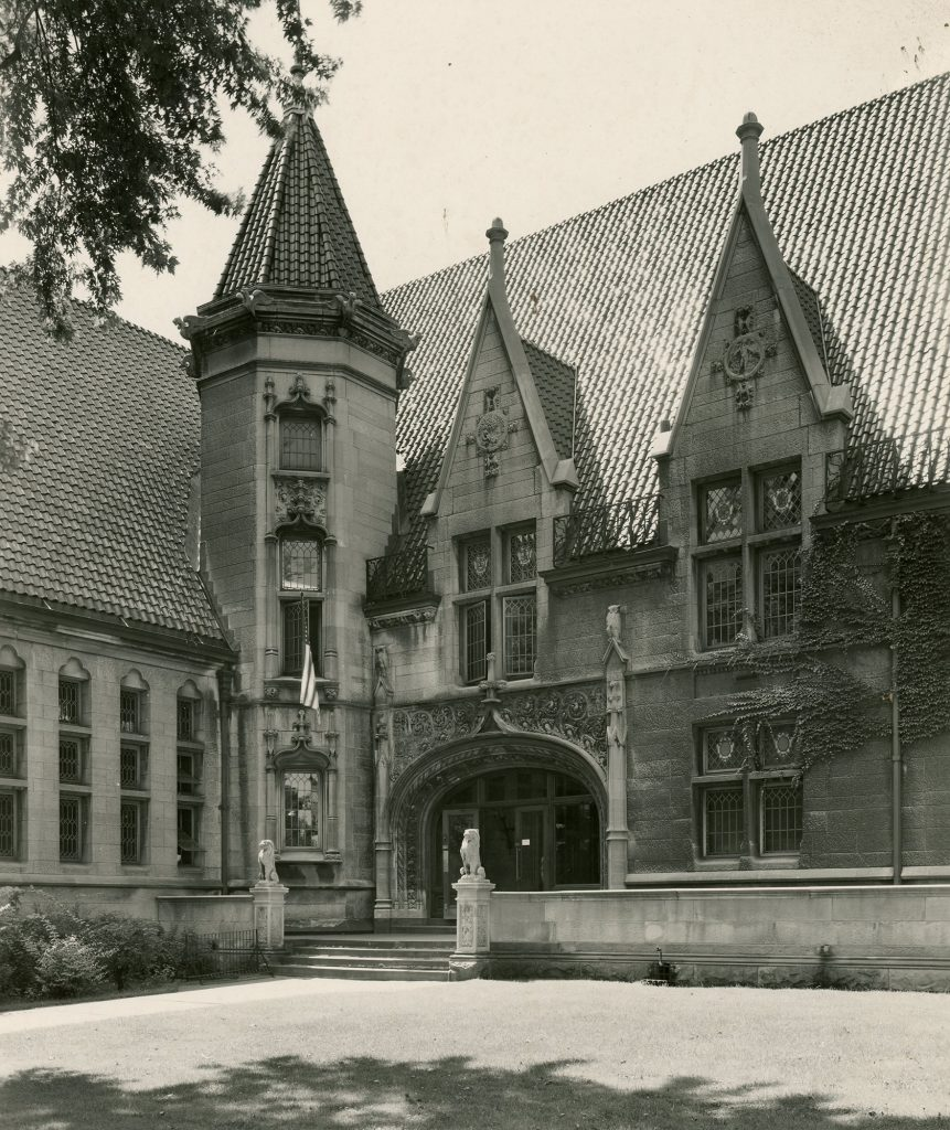 Entrance to Albright Library, where author Glenna Lang conducted research.