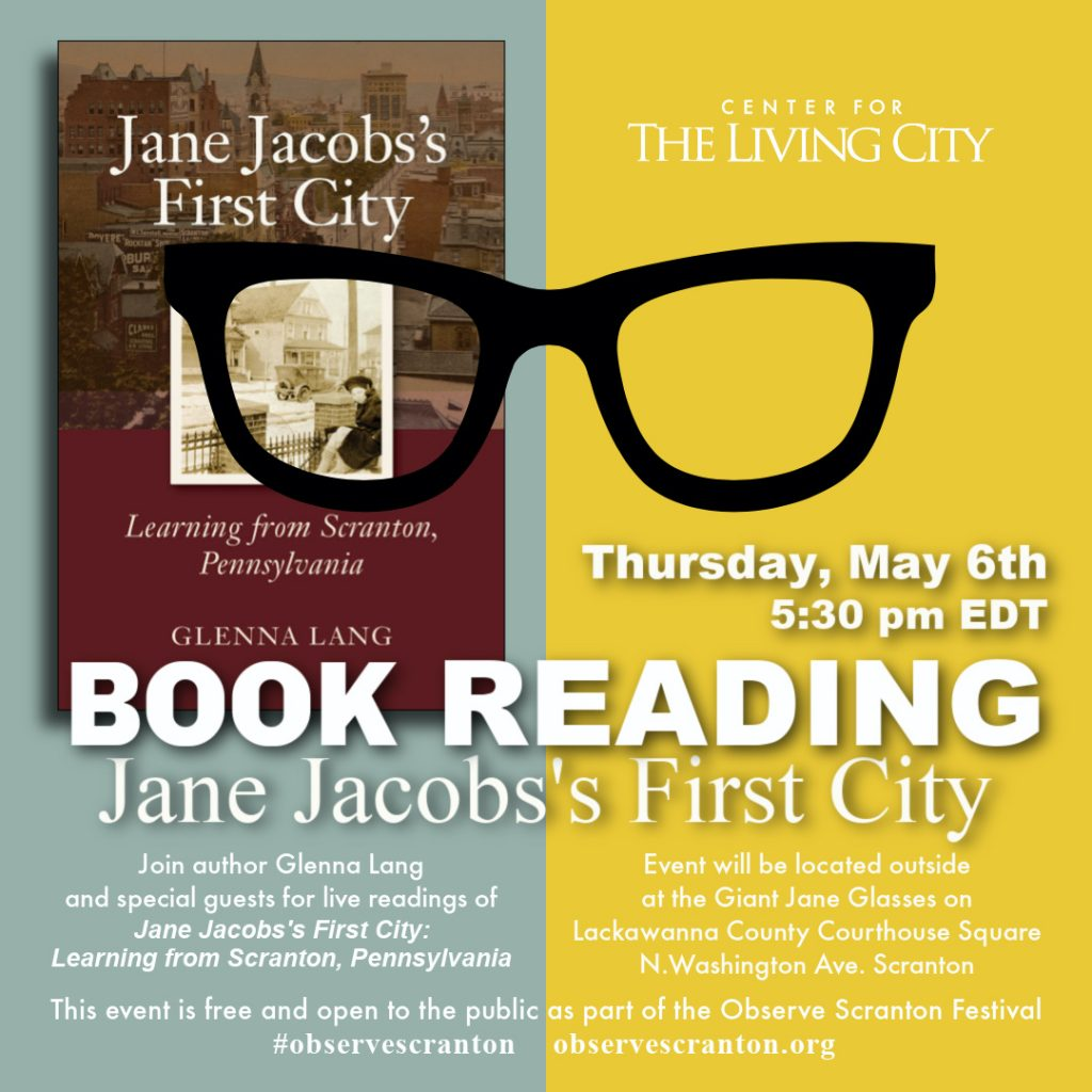 Graphic for book reading - jane jacobs's first city book launch in scranton